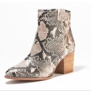 Report Snakeskin Print Trixi Ankle Heeled Booties
